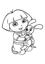 Раскраска - Даша-путешественница - Даша с щенком