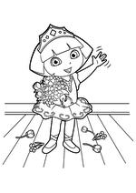 Раскраска - Даша-путешественница - Даша в роли принцессы на сцене