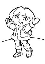 Раскраска - Даша-путешественница - Даша радуется зиме
