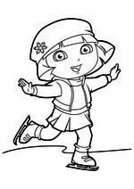 Раскраска - Даша-путешественница - Даша на коньках