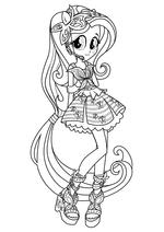 Раскраска - Мой маленький пони: Девочки из Эквестрии – Радужный рок - Флаттершай