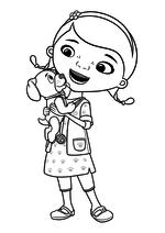 Раскраска - Доктор Плюшева - Доктор Плюшева - ветеринар с щенком