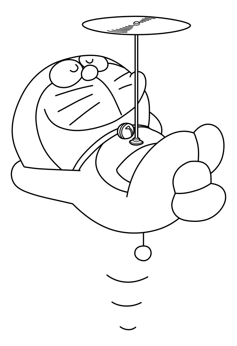 Раскраска - Дораэмон - Дораэмон с пропеллером