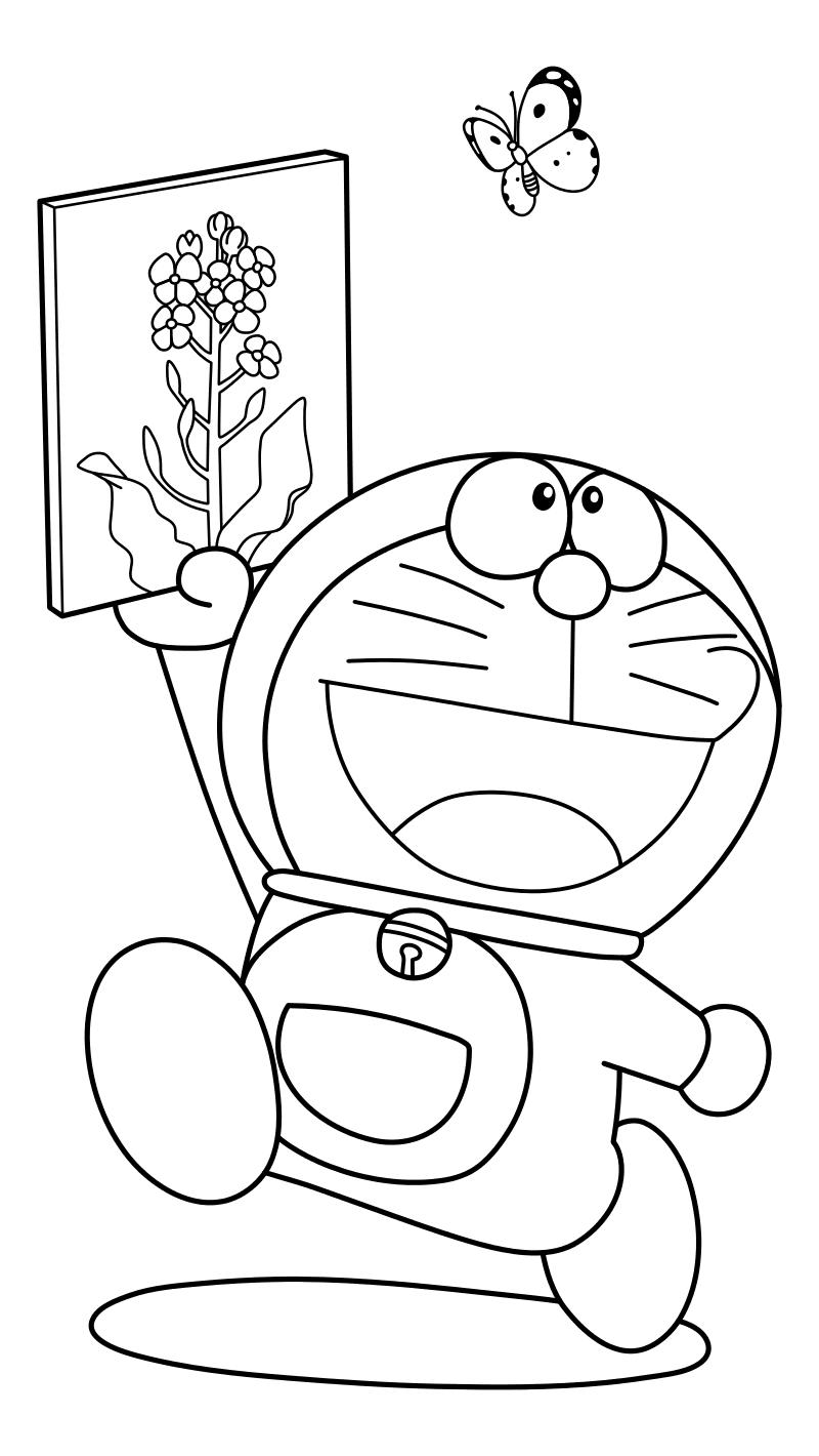 Раскраска - Дораэмон - Дораэмон с картинкой и бабочка