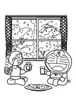 Раскраска - Дораэмон - Ноби Нобита и Дораэмон