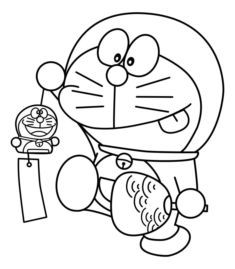 Раскраска - Дораэмон - Дораэмон с сувенирами