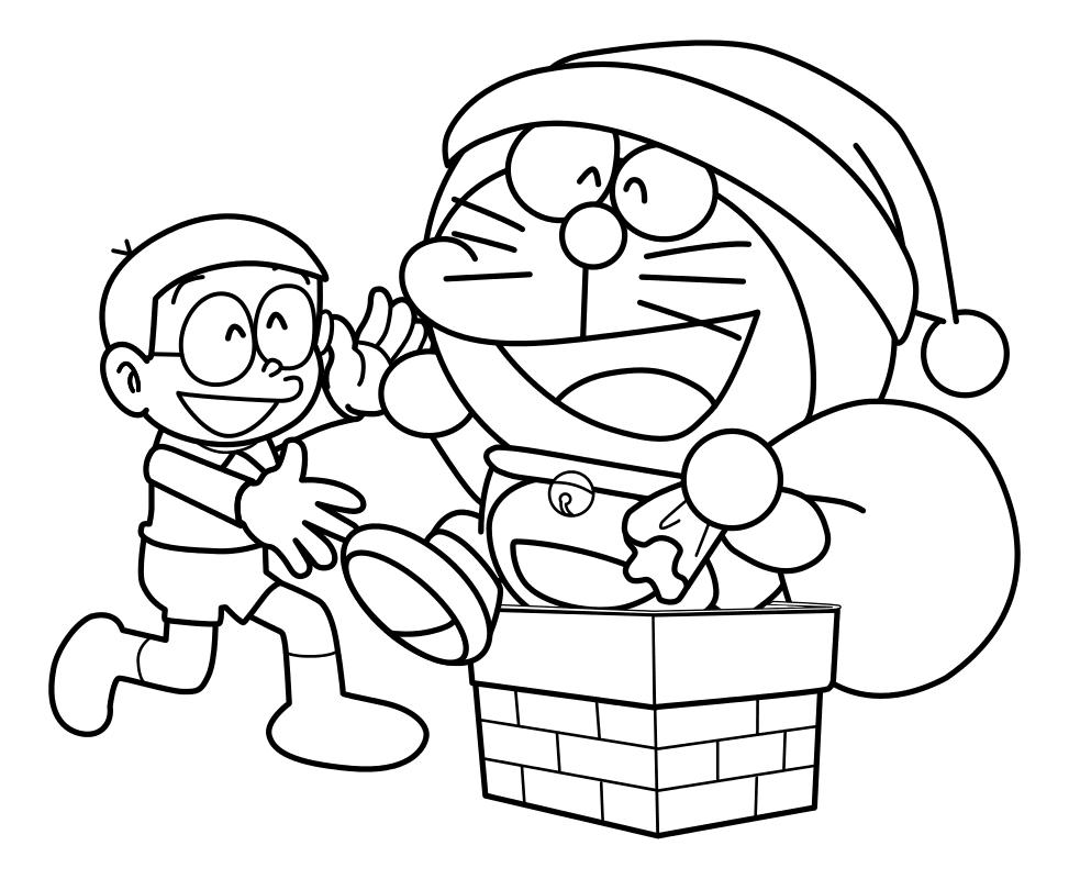 Раскраска - Дораэмон - Нобита и Дораэмон с мешком подарков