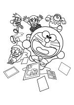 Раскраска - Дораэмон - Нобита, Сунэо, Сидзука, Дораэмон и Джаян