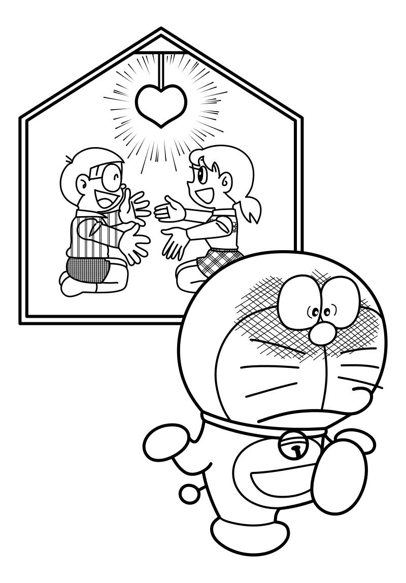 Раскраска - Дораэмон - Нобита, Сидзука и Дораэмон