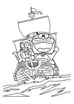 Раскраска - Дораэмон - Нобита и Дораэмон плывут на корабле