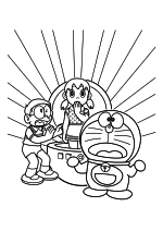 Раскраска - Дораэмон - Ноби Нобита, Сидзука Минамото и Дораэмон