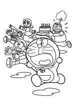 Раскраска - Дораэмон - Сунэо, Нобита, Сидзука, Дораэмон и Джаян