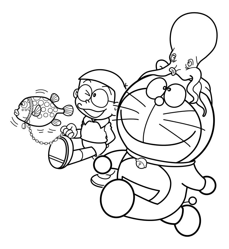 Раскраска - Дораэмон - Нобита и Дораэмон с морскими питомцами