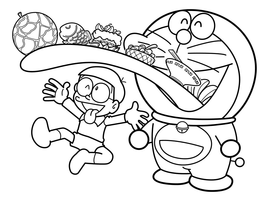 Раскраска - Дораэмон - Нобита и Дораэмон - весельчаки