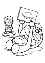 Раскраска - Дораэмон - Нобита и Дораэмон - художник