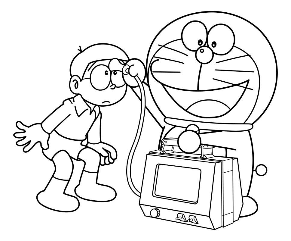 Раскраска - Дораэмон - Дораэмон обследует Нобиту