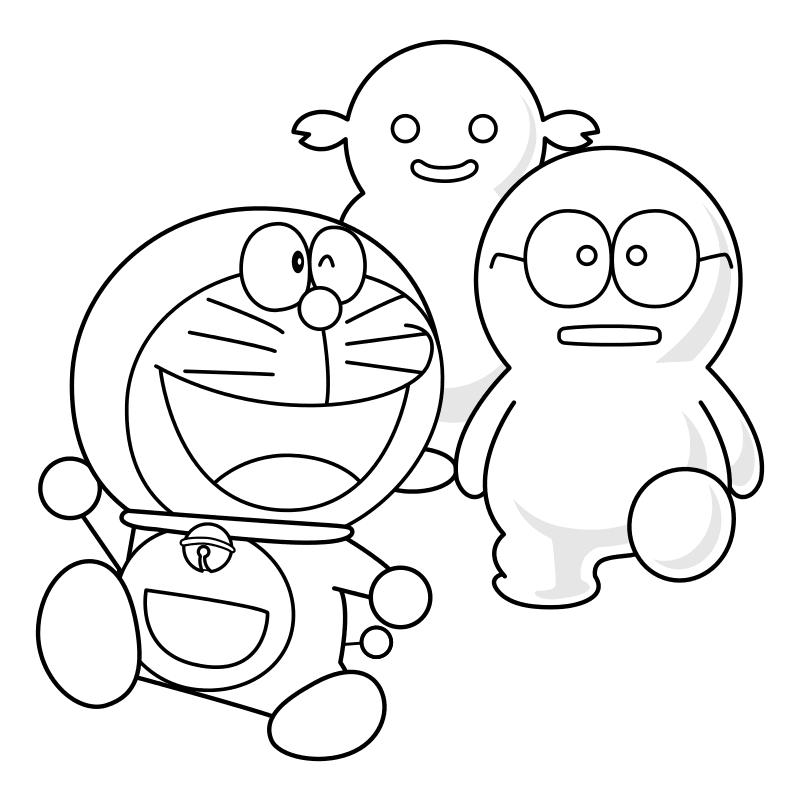 Раскраска - Дораэмон - Дораэмон с призраками