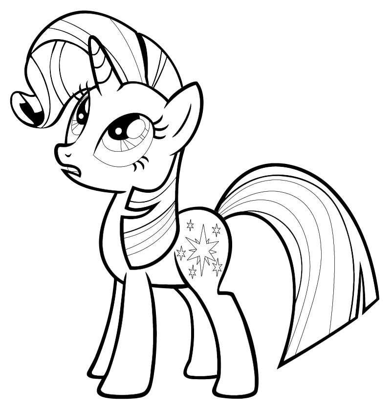 Раскраска - Мой маленький пони: Дружба – это чудо - Сумеречная Искорка с модельной гривой