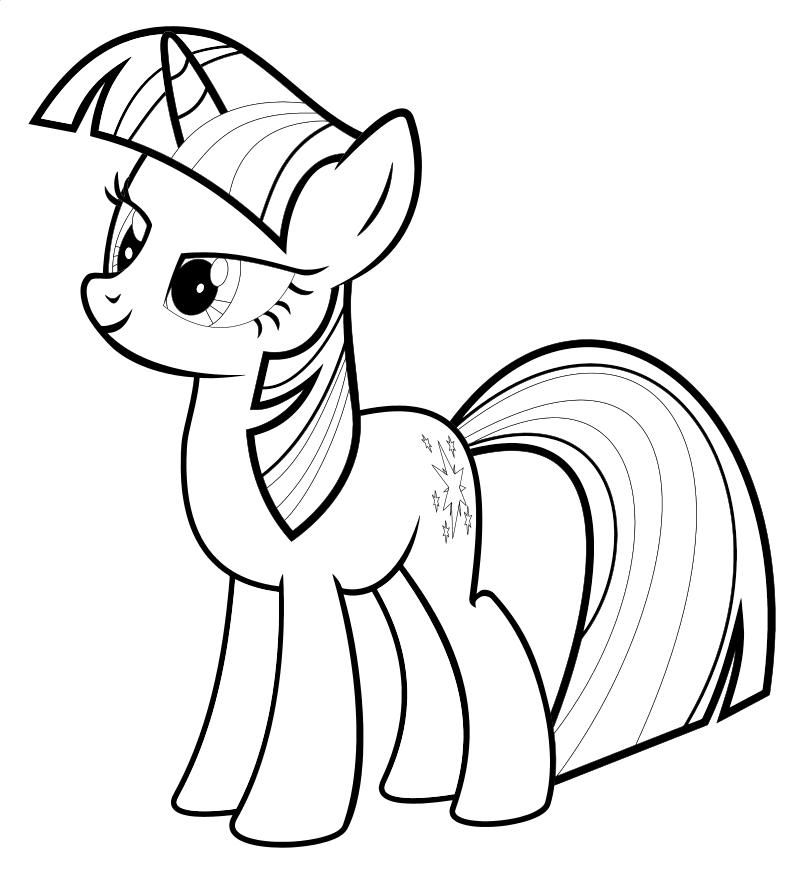 Раскраска - Мой маленький пони: Дружба – это чудо - Сумеречная Искорка серьёзный настрой