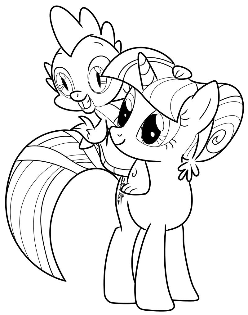 Раскраска - Мой маленький пони: Дружба – это чудо - Сумеречная Искорка и Спайк