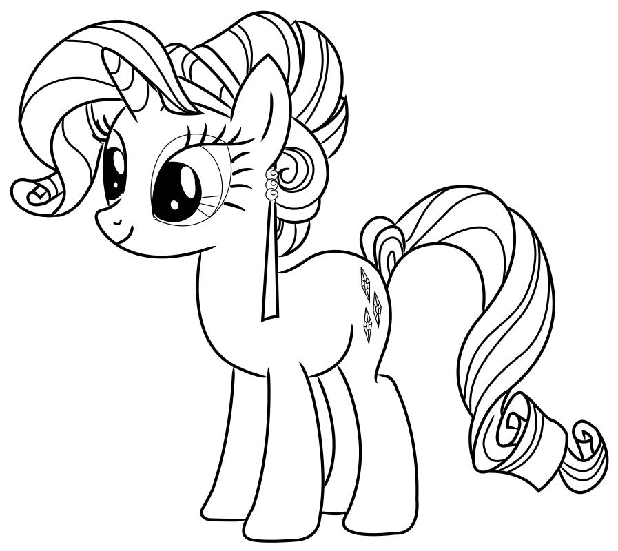 Раскраска - Мой маленький пони: Дружба – это чудо - Рарити с серьгой