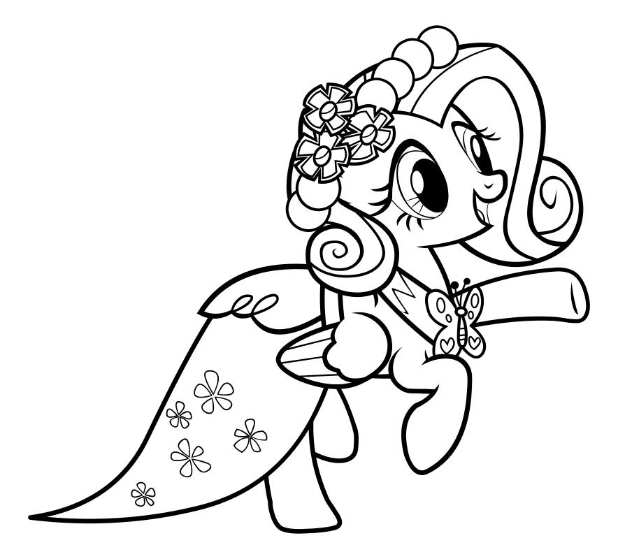 Раскраска - Мой маленький пони: Дружба – это чудо - Флаттершай в бальном платье