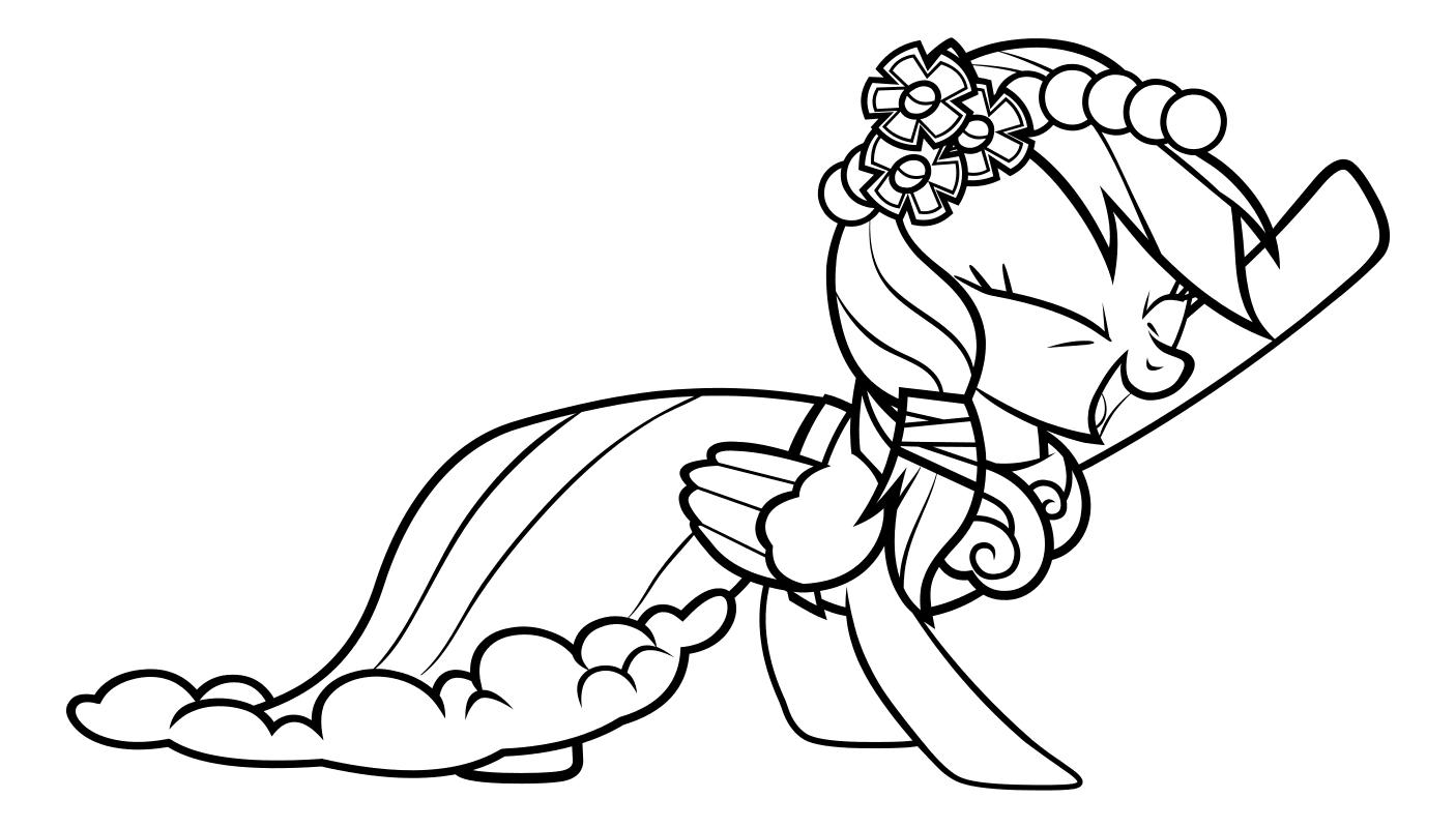 Раскраска - Мой маленький пони: Дружба – это чудо - Радуга Дэш в бальном платье