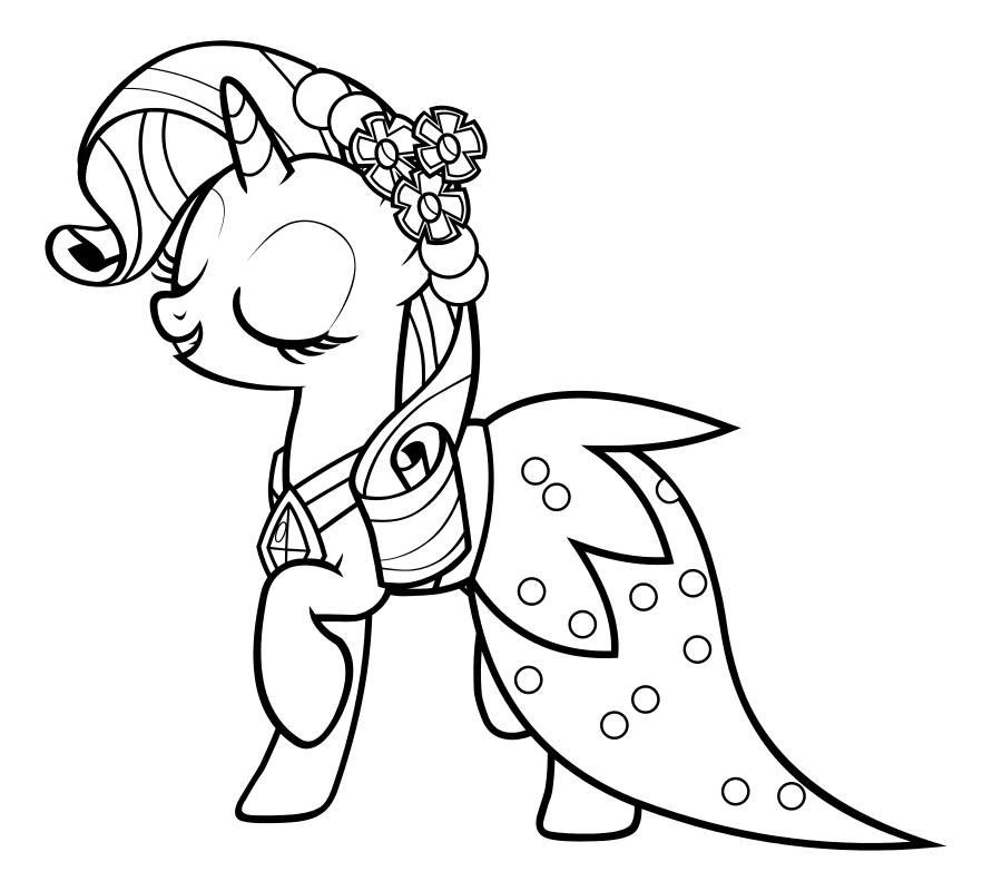 Раскраска - Мой маленький пони: Дружба – это чудо - Рарити в бальном платье