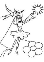 Раскраска - Дюймовочка - Дюймовочка прощается с солнцем