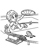 Раскраска - Фиксики - ДимДимыч с летающей тарелкой и железной дорогой