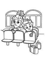Раскраска - Фиксики - Симка и Нолик в зале ожидания