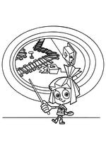 Раскраска - Фиксики - Симка рассказывает про игрушечную железную дорогу