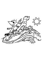 Раскраска - Финес и Ферб - Перри-утконос, Финес и Ферб сёрферы