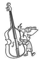 Раскраска - Финес и Ферб - Финес играет на контрабасе