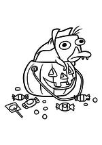 Раскраска - Финес и Ферб - Перри-утконос на Хеллоуин
