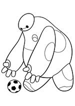 Раскраска - Город героев - Бэймакс играет с мячом