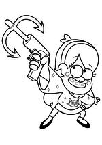 Раскраска - Гравити Фолз - Мэйбл с абордажным крюком