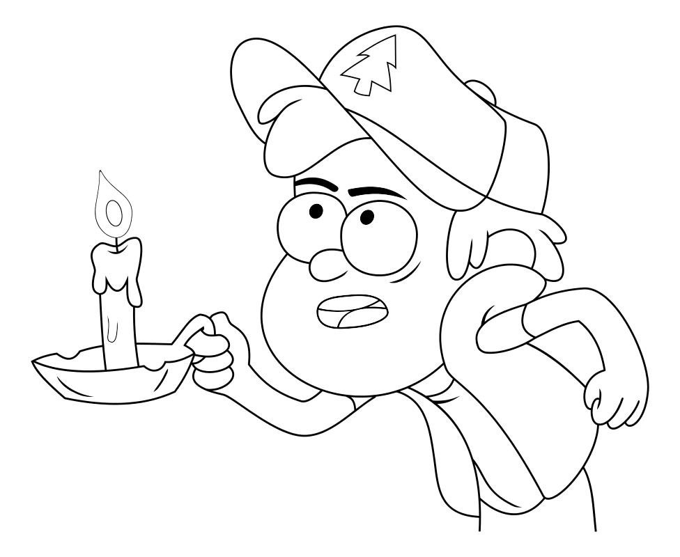 Раскраска - Гравити Фолз - Диппер со свечой в руке