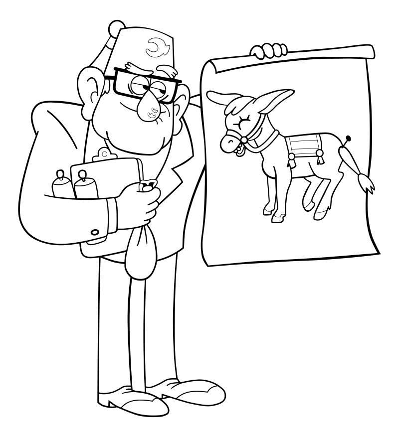 Раскраска - Гравити Фолз - Стэн с осликом на плакате