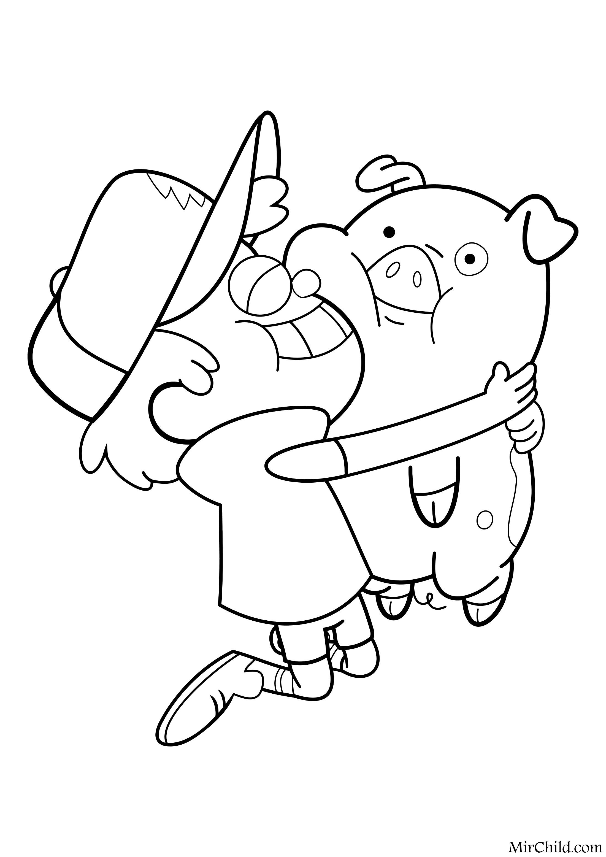 Раскраска - Гравити Фолз - Диппер обнимает Пухлю | MirChild