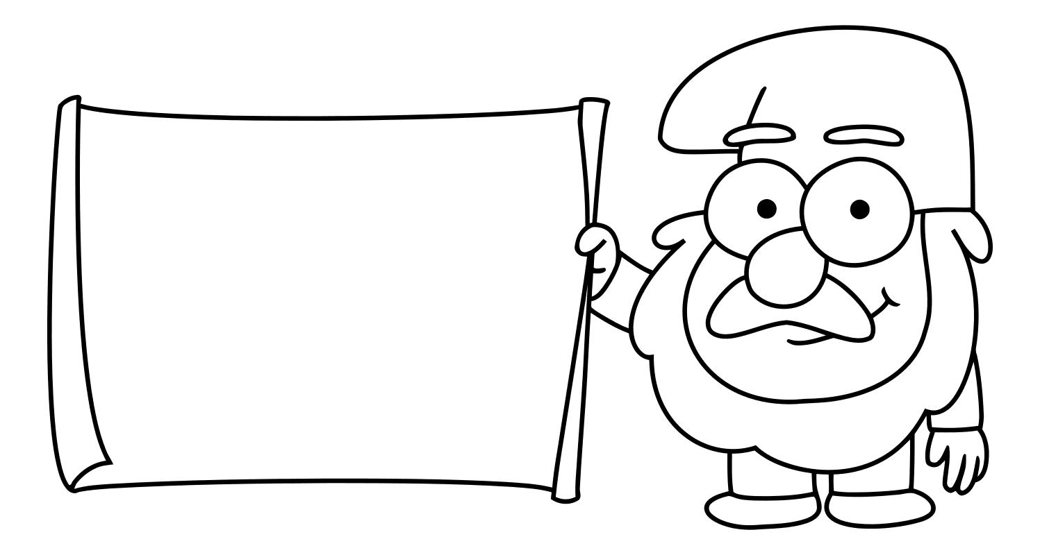 Раскраска - Гравити Фолз - Гном Стив с плакатом