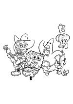 Раскраска - Губка Боб Квадратные Штаны - Сэнди Чикс, Губка Боб, Патрик Стар и Сквидвард Тентаклс