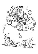 Раскраска - Губка Боб Квадратные Штаны - Губка Боб в машине и Гэри