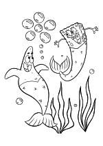 Раскраска - Губка Боб Квадратные Штаны - Патрик Стар и Губка Боб с рыбьими хвостами