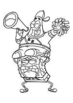 Раскраска - Губка Боб Квадратные Штаны - Губка Боб держит Патрика
