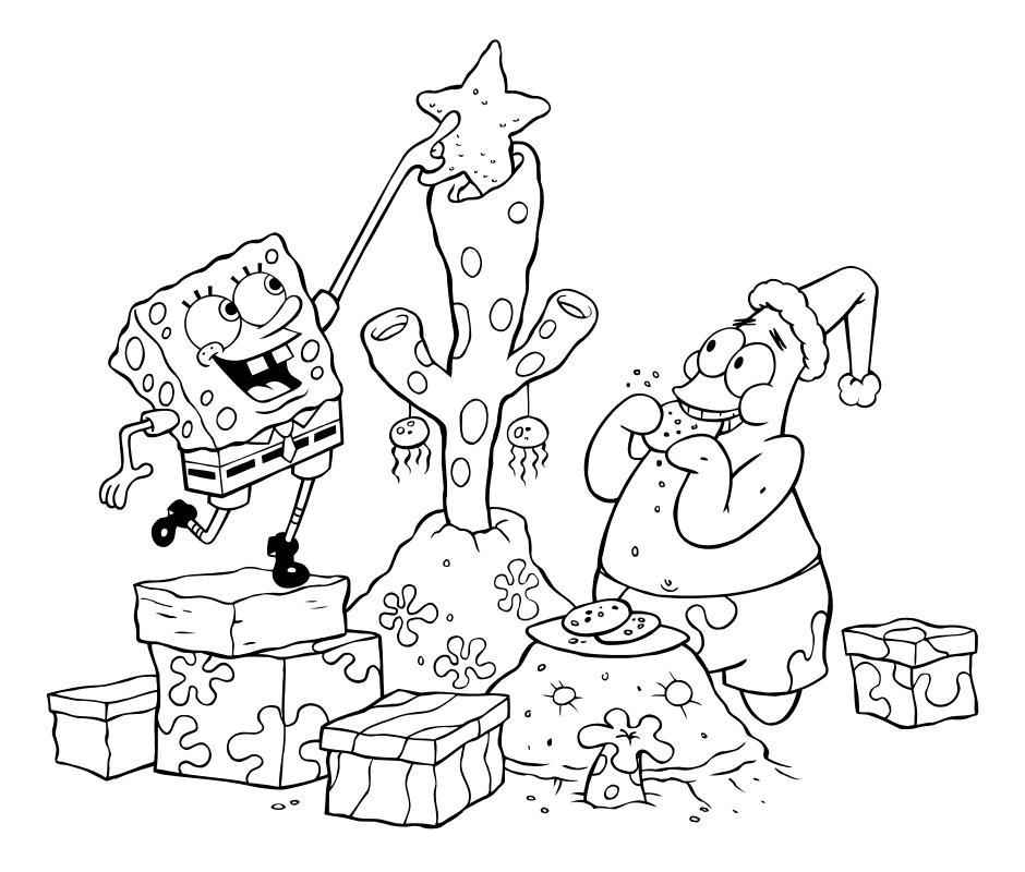 Раскраска - Губка Боб Квадратные Штаны - Губка Боб и Патрик наряжают подводную ёлку