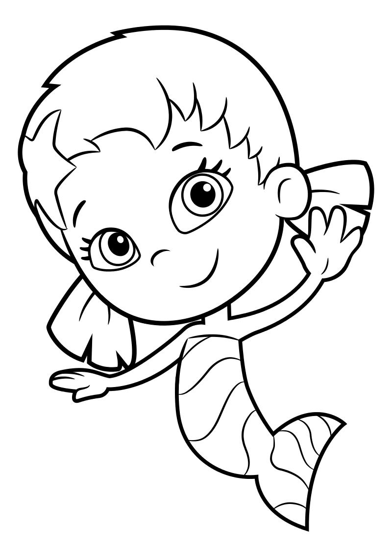 Раскраска - Гуппи и пузырики - Уна