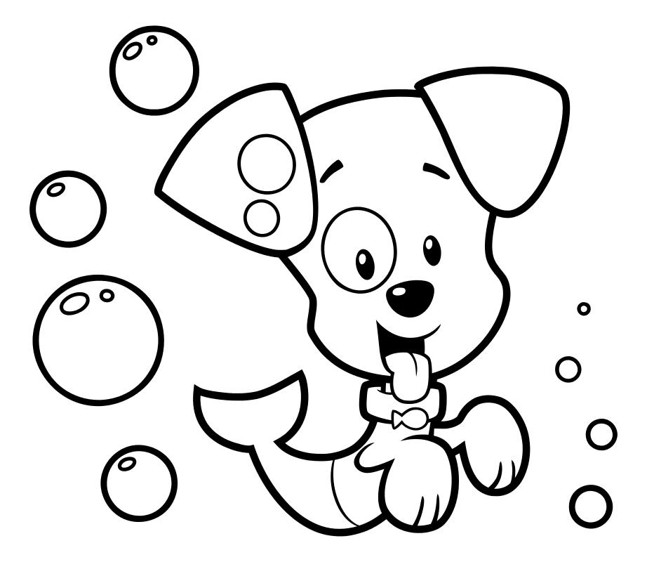 Раскраска - Гуппи и пузырики - Щенок Пузырёк
