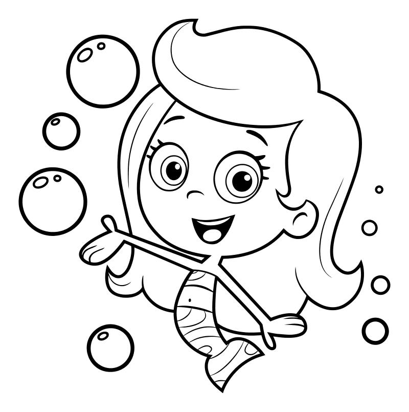 Раскраска - Гуппи и пузырики - Молли - девочка-гуппи