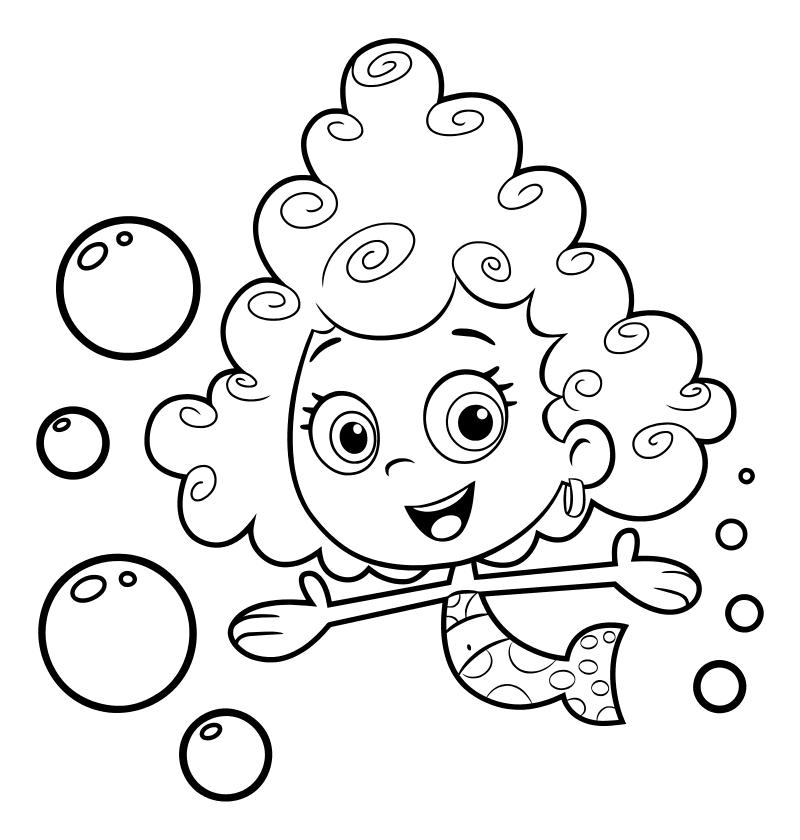 Раскраска - Гуппи и пузырики - Дина - девочка-гуппи